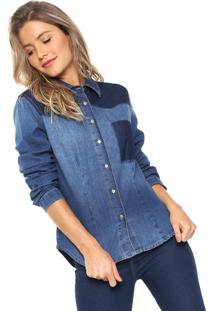 Camisa Jeans Forum Reta Azul