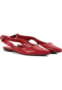 Sapatilha Couro Santa Lolla Chanel Laço Feminina - Feminino-Vermelho
