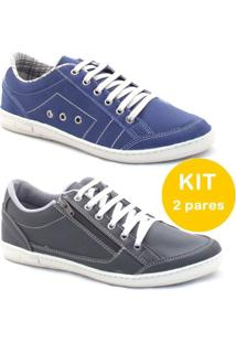 Kit Sapatênis Dexshoes Casual - Masculino-Azul+Preto