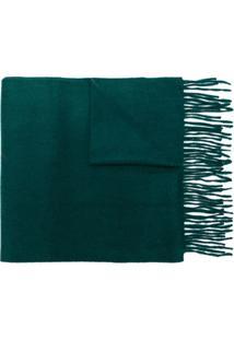 N.Peal Cachecol De Cashmere Com Franjas - Verde