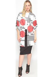 Kimono Com Tira- Branco & Vermelho- My Favorite Thinmy Favorite Things