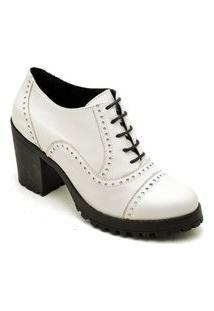 Ankle Boot Feminino Qea 19000 Verniz Branco 1338