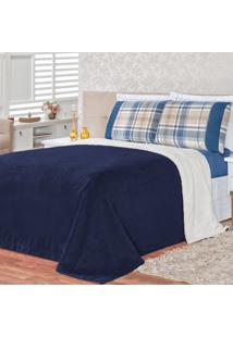 Kit Dourados Enxovais Cobertor C/ Jogo De Lençol Alaska Dupla Face Azul Queen 04 Peças - Tecido Sherpa E Manta Microfibra C/ Lençol Micropercal