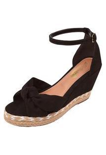 Sandália Uzze Sapatos Anabela Confort Laço Preta