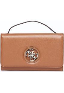 Bolsa Transversal Com Tag - Marrom & Dourada - 14X21Guess
