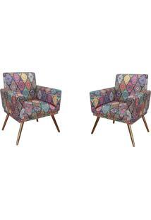 Kit 02 Poltronas Decorativa Pés Palito Nina Com Rodapé Suede Mosaico Preto - Ds Móveis
