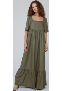 Vestido Longo Evasê Em Tecido Acetinado - Verde