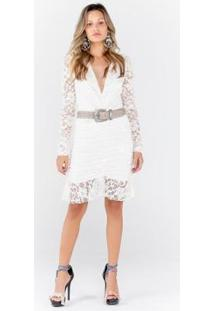 Vestido De Renda Com Drapeado Na Saia - Feminino-Branco