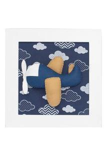 Quadro Decorativo Aviáo Marinho Quarto Bebê Infantil Menino