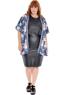 Kimono Plus Size Zuya Floral Azul