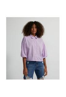 Camisa Manga Longa Bufante Em Laise | Blue Steel | Roxo | Gg