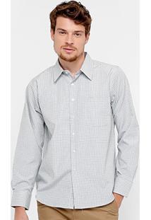 Camisa Blue Bay Listras Manga Longa Bolso Masculina - Masculino