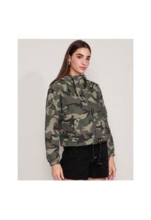 Jaqueta Corta Vento De Nylon Camuflada Com Capuz E Bolsos Verde Militar