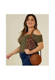 Blusa Plus Size Feminina Open Shoulder Floral Manga Curta
