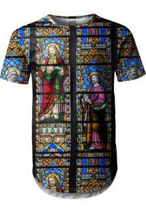 Camiseta Longline Over Fame Vitral Igreja Multicolorido
