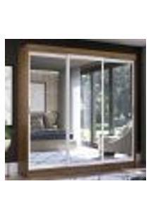 Guarda-Roupa Casal Madesa Istambul 3 Portas De Correr De Espelho 3 Gavetas - Rustic/Branco