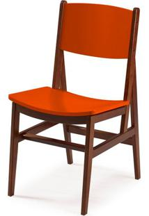 Cadeira Dumon Cor Cacau Com Laranja Vivo - 30801 - Sun House