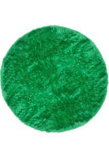 Tapete Saturs Shaggy Pelo Alto Verde Redondo 110 Cm Tapete Para Sala E Quarto