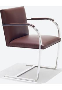 Cadeira Brno - Cromada Linho Impermeabilizado Marrom - Wk-Ast-05