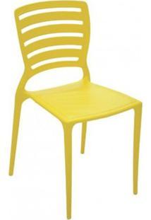 Cadeira Sofia Amarela Encosto Vazado Horizontal Tramontina