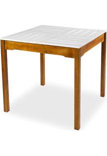Mesa De Jantar Compacta De Madeira Maciça Taeda Natural Com Tampo Colorido Olga - Verniz Nozes/Branco 80X80X75Cm