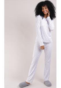 Pijama Feminino Estampado De Corações Manga Longa Off White