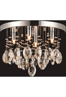 Plafon Sobrepor Cristal Para 4 Lâmpadas Versalhes Blumenau Transparente