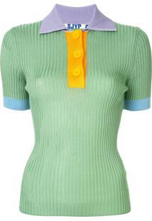 Sjyp Camisa Polo Canelada - Estampado