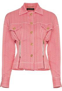 Versace Check Print Zip Detail Cropped Jacket - Vermelho