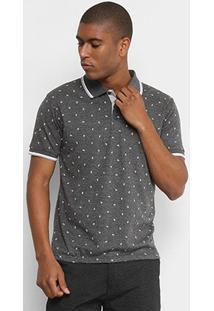 Camisa Polo Broken Rules Malha Mini Print Folhagem Masculina - Masculino-Chumbo