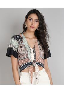 Blusa Feminina Cropped Estampada De Arabescos Com Botões E Nó Manga Curta Decote V Caramelo