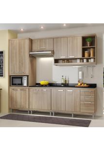 Cozinha Compacta 11 Portas Sicília Com Tampo 5809 Argila - Multimóveis