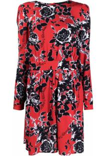 Love Moschino Floral-Print Dress - Vermelho
