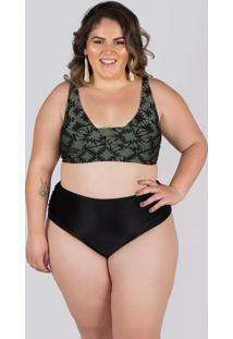 Biquíni Meeloo Plus Size Hot Pants Franzida E Sutiã Básico Estampa Preto Croco