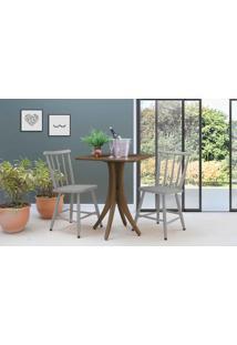 Mesa Quadrada E 2 Cadeiras Juliette - Nogueira E Cinza Concreto