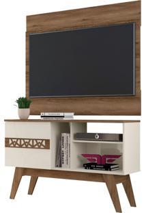 Rack Bancada Com Painel Para Tv Atã© 42 Polegadas Smart Canela/Off White - Frade Movelaria - Marrom - Dafiti