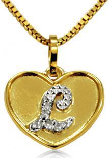 Pingente Em Ouro 18K Coração Com Letra L Com 5 Diamantes - Pg20107