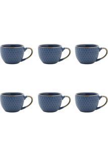 Conjunto De Xícaras Para Café Escamas Azul 90 Ml
