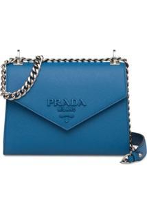 Prada Bolsa Monochrome De Couro Saffiano - Azul