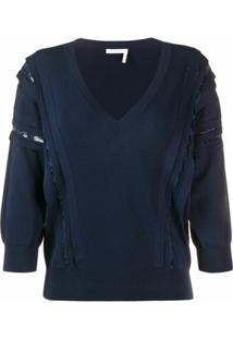 Chloé Suéter Com Aplicação De Renda - Azul