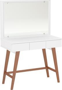 Penteadeira Ipanema Com Espelho 3 Gavetas Branca Politorno