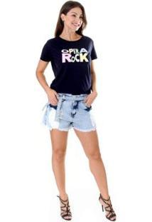 Shorts Jeans Opera Rock Feminino - Feminino-Azul