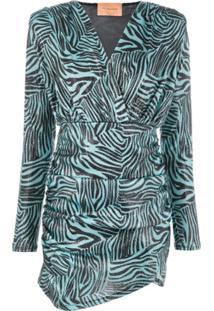 Andamane Vestido Slim Com Estampa De Zebra - Azul