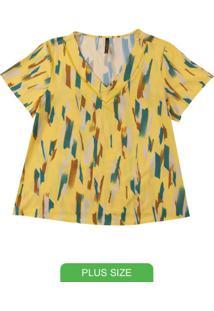Blusa Em Tecido Estampada Amarelo