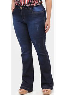 Calça Jeans Flare Xtra Charmy Plus Size Feminino - Feminino-Azul