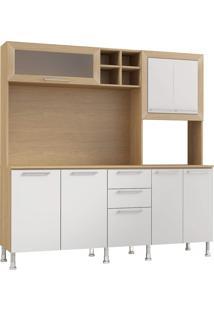 Cozinha Compacta Ditália Aspen Carvalho E Branco Cd354