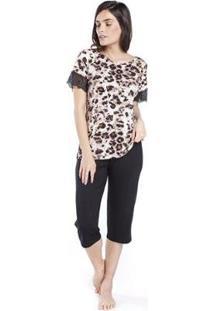 Pijama Inspirate Capri Animal Print Feminino - Feminino-Preto