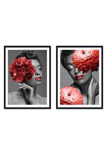 Quadro 67X100Cm Idália Mulher Com Flores Vermelha Nórdico Moldura Preta Com Vidro