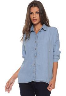 Camisa Jeans Enna Ampla Pérolas Azul