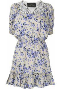Nicole Miller Vestido Gola V Com Estampa Floral - Neutro